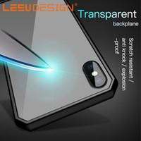 akrilik tasarımlar toptan satış-LEEU TASARıM hibrid şeffaf akrilik geri TPU tampon damla direnci anti şok cep telefonu kılıfı için iphone x xr xs max 6 7 8 s9 10 LITE PLUS