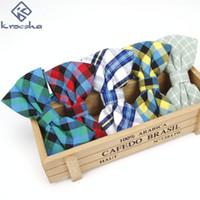Wholesale Wholesale Plaid Shirts For Men - Newest Cotton Men's Bow Tie Brand Classic Plaid Tie Bowtie For Men Leisure Male Business Shirts Cravats Accessories Hot Sale