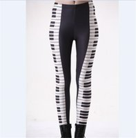 Wholesale piano 3d - Wholesale Free Shipping S-4XL Women Black And White Piano Music 3D Digital Print Milk Leggings Plus Size Girl Tights