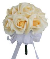 ramos amarillos al por mayor-12 rosas amarillas - ramo de novia de flores de seda Ramo de dama de honor Flor de boda De Mariage Rose