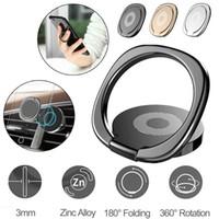 masaüstü için akıllı telefon tutacağı toptan satış-360 ° Parmak Yüzük Standı Telefon Tutucu Masası Braketi Araba Manyetik Metal Plaka Cep Telefonu Mounts Smartphone Sahipleri