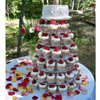 akrilik stand düğün toptan satış-5 4 3 Tier Akrilik Kek Standı Şeffaf Kek Kulesi Raf Tutucu Pan Düğün Dekorasyon Parti Doğum Günü Ekran Aracı wn100
