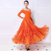 vestido de alto nivel al por mayor-Ballroom Competition Dance Dress Adult New Design Alta calidad Orange Standard Waltz Ballroom Vestidos de baile