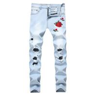 Wholesale Black Rose Pants - Rose Embroidery Men's Jeans Hi-Street Slim Fit Black Blue Elastic Jeans Men's Broken Hole Denim Jeans