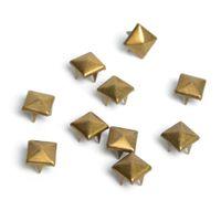 lederarmbänder für handwerk großhandel-100 stücke 8mm Messing Pyramide Studs Nailheads Rivet Spike Punk Tasche Leder Armbänder Kleidung Kleidungsstück Niet Bekleidung
