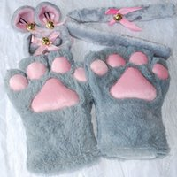 Wholesale Cosplay Cat Tails - party rock 1 Set New Anime Cosplay Costume Gloves Sweet Cat Ears Plush Paw Claw Gloves Tail Bow-tie Halloween Party