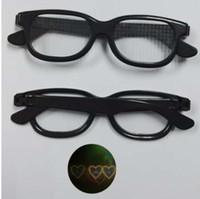 quadros de óculos de coração preto venda por atacado-1 pcs luz adultos festivais 3d fogos de artifício a laser grades óculos, coração de plástico óculos de difração com moldura de cor preta azul
