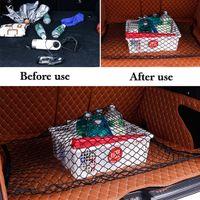 rücksitzwagenorganisatoren großhandel-Flexible Kofferraum Schwarz Nylon Net Rücksitz Organizer Montage Kit Rear Storage Cargo Organizer für Auto SUV