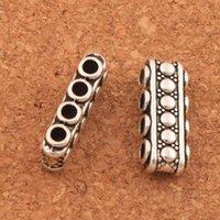 Wholesale bali style - 100pcs lot GEM-inside Bali Style Metal Rectangle Spacer Bars 4-Strand L510 Antique SilverJewelry Making Beads 19x7mm LZsilver