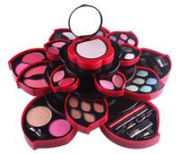 Wholesale glitter pots - Miss Rose Eyeshadow Palette Average Pot Plum Blossom Rotary Eye Shadow Glitter Matte Brush Cosmetic Box Case Makeup Tools
