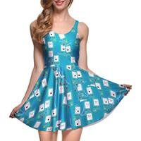 jogo sexy azul venda por atacado-NOVO 1001 plus size verão mulheres dress game caixa azul 3d imprime colete reversível sexy girl plissado dress