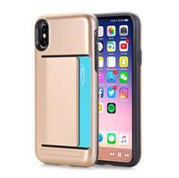 carteira de telefone celular rígido venda por atacado-Para a apple iphone xs max xr 8 plus x s8 nota9 carteira id cartão de bolso armadura caixa de slot rígido pc + tpu casos de telefone celular