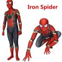 Wholesale spiderman spandex bodysuit - Iron Spider Homecoming Spiderman Costume Halloween Cosplay Superhero 3D print Bodysuit Suit Jumpsuits for Adult