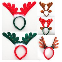 Wholesale reindeer head resale online - christmas Reindeer antler Hairband Bell Deer Horn headbands Ear head Hoops Halloween Party festival Decorations adult kids children wear hot