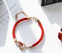 titan charme armbänder großhandel-Titan Stahl Doppelring Rom digitale Diamantbohrer rot Kettenarmband