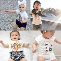 Wholesale tiger pattern clothing - animal tiger unicorn pattern Tops Tees Baby Kids Clothing Short-sleeved T-shirt girl boy clothes panda kids T-shirts 1813
