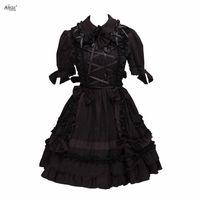 siyah gotik lolita elbiseleri toptan satış-Lolita Elbise Kadınlar Gotik Koyu Siyah Lolita Kostümleri Pamuk Kısa Kollu Cosplay A-line XS-XXL Cosplay Diz Boyu Elbise