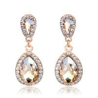 hermosos colgantes elegantes al por mayor-Moda hermosa gota de diamante pendiente exagerado Super brillante cristal colgante largo pendientes de la joyería mujeres elegantes para el presente