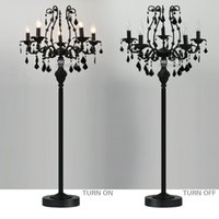 Wholesale floor standing candelabra - Vintage 5 Lights Crystal Floor Lamp, Floor Stand Light Fixture Cristal Lustre de cristal Candelabra Standing Lamp Centerpiece