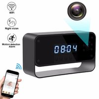 Wholesale night vision alarm clock cameras online - S60 Wireless WIFI Electronic Clock Camera HD p Night vision Alarm clock P2P IP Camcorder CCTV Camera for Home Security Surveillance