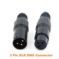 conectores hembra de metal macho al por mayor-10 pares / lote Metal Conector XLR macho y hembra XLR de 3 pines para luz de escenario Conector de cable DMX512 Accesorios de iluminación de escenario