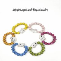 d0f94a04b Cute Children Cat Hello Kitty Bracelet for Kids Girls crystal Beads cat  Bracelet candy color cat Charm bracelets Jewelry birthday gift