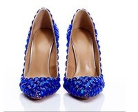 zapatos de boda estilo arco al por mayor-2019 Nuevo Estilo Azul Diamantes Zapatos de Boda de Moda Tacones Altos Partido Prom Novia Crystal Bow Shoes