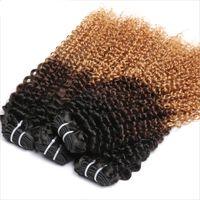 Wholesale full head brazilian virgin hair for sale - Group buy Ombre Blonde Hair Extensions Brazilian Kinky Curly Virgin Human Virgin Hair b Thick Weft Full Head