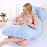 mütterlicherseits großhandel-130 * 70 cm Schwangere Mutter Seite Kissen Körper Schlafen Mutterschaft Kissen 100% Baumwolle Kissenbezug U Form Schwangerschaft Bettwäsche Komfortable Kissen