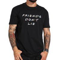 Wholesale friends tv series - Friends Do Not Lie Print T-shirt Men Famous TV Series Black White O-neck Short Sleeve Tee Shirts EU Size