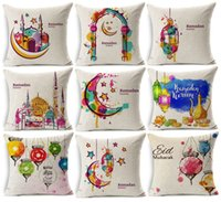Wholesale lantern moon - 16 Styles Ramadan Kareem Eid Mubarak Cushion Covers Watercolor Painting Moon Stars Lantern Mosque Cushion Cover Beige Linen Pillow Case