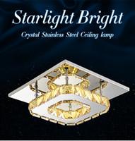 lámpara cuadrada de comedor al por mayor-La moderna lámpara de araña de cristal K9 12W llevó la lámpara de techo, luz ámbar de lustre ámbar 85-265V para el hogar comedor, luz de techo de acero inoxidable transparente