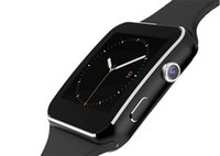 teléfono celular relojes cámaras al por mayor-X6 Smartwatch Pantalla curva Bluetooth Reloj con pulsera inteligente Reloj con ranura para tarjeta SIM TF Cámara FM Soporte Whatsapp para IOS Andriod Teléfono celular