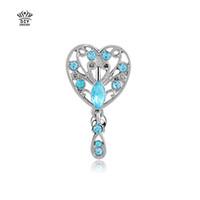 Wholesale Silver Chain Turkey - 2016 new hearts Silver Turkey Blue Navel Belly Button Ring Rhinestone Bar Heart Star Belly Piercing Body Jewelry