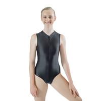 ingrosso ballerini neri-Dancer's Choices Nylon nero / Lycra Collo alto Maglia posteriore Ginnastica Senza maniche Body per ragazze Balletto Dancewear Tuta per donna