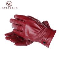 Wholesale branded sheepskin gloves resale online - Atliqina women leather gloves winter touch screen glove Italian genuine sheepskin autumn mitten fashion warm new brand