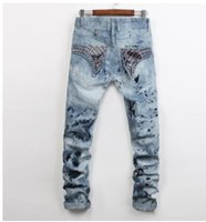 robin jeans coat venda por atacado-Robin Jeans Homem Impressão Revestimento De Strass Decoração Jeans Bordados Os HOMMES Na Primavera Outono Jeans