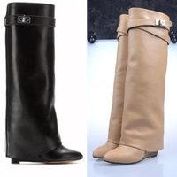 Wholesale gold strap shoes for sale - Designer Metal Shark lock Women Knee High Boots Polish Leather Long Booties Colors Strap Wedges Shoes Ladies Knight Layer Boots