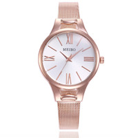 стальные наручные часы оптовых-Women Stainless Steel Bracelet Watch Fine Mesh Lady Wrist Watches Roman Scale Quartz Watch Elegant Casual Clock Gift Reloj Mujer