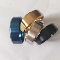 bagues pour femmes en or noir achat en gros de-8mm en acier inoxydable anneaux de bandes de mariage bagues pour les femmes Mens plaine bague pour hommes, noir / or plaqué / argent
