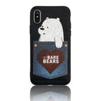 niedlicher telefontaschenkasten großhandel-Kreative Karte Geld Halter Pocket Phone Case für iPhone X 7 8 6 6 s Plus Fällen niedlichen Bären zurück Drucken Skin Cover TPU PC Textur