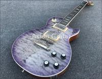 abalone inlay für gitarrenkörper großhandel-59 Lila gesteppte Ahorn Top E-Gitarre einteiliger Körper Hals, geschnitzt Axcess Neck Joint Ausschnitte, Tonepros, Ebenholz Griffbrett Abalone Inlay