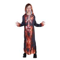 Wholesale anime skeleton costume online - Halloween horror kid skeleton costumes boys girls children party anime fancy dress ghost vampire demon Purim robe