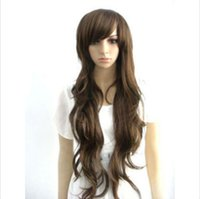 ingrosso capelli marroni cosplay anime-New Fashion Sexy Long Brown Wavy Women Lady Cosplay Parrucca Parrucca Anime Parrucca + Cappuccio
