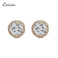 Wholesale push jewelry - Hot Sale Romantic Jewelry Stud Earrings Gold Plated Round Shaped Push Back Earrings For Fashion Wedding Party Elegant Cubic Zirconia Stone