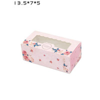 Wholesale window cookie boxes - 3 Sizes Pink Blue Kraft Paper Cake Box with PVC Window Party Gift Packing Box Cookie Candy Nuts Box Dessert Packaging ZA6588