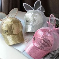 Wholesale children rabbit ball hat - Summer children sequins pure color rabbit ears sun hats sunhats mesh baseball caps baby and mom outside sun hats