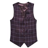 tuxedos für männer plus männer großhandel-Herren Plaid Anzug Weste Hochzeit Formelle Anzüge Kostüm Chaleco Hombre Slim Fit Plus Größe 5XL 6XL Marke Superior Smoking E525