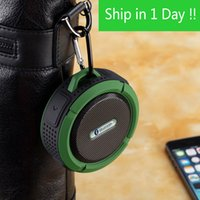fincan hoparlör bluetooth toptan satış-C6 Açık Spor Duş Taşınabilir Su Geçirmez Kablosuz Bluetooth Hoparlör Vantuz Handsfree MIC Ses Kutusu iphone 7 iPad PC Telefon