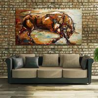 abstrakte ölgemälde tiere großhandel-Modernes abstraktes starkes Stierölgemälde 100% handgemaltes Tierölgemälde auf Segeltuchwand-Kunstbildhauptdekor